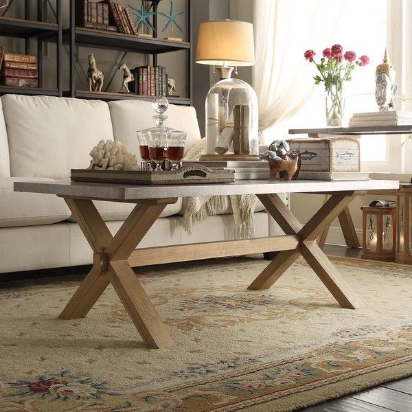 INSPIRE Q Aberdeen Industrial Zinc Top Weathered Oak Trestle Coffee Table - Overstock™ Shopping - Great Deals on INSPIRE Q Coffee, Sofa & End Tables