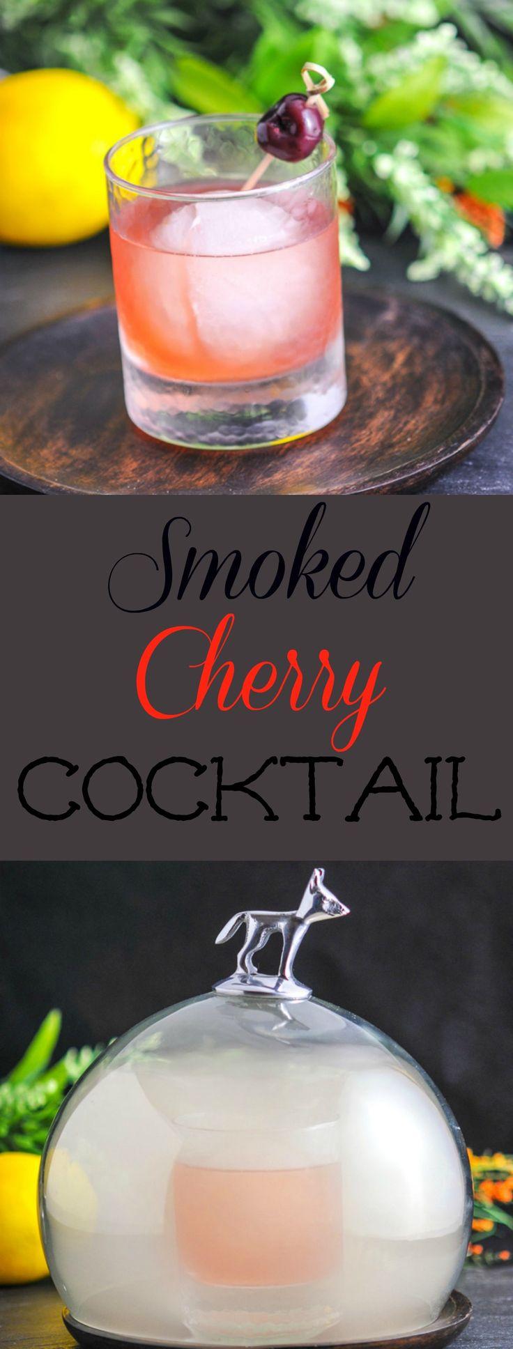 Smoked Cherry Cocktail - bourbon, honey brandy, white vermouth, sage simple syrup, lemon, campari, cherry bitters, cherry smoking wood  #cocktail #honey #whiskey #cherry