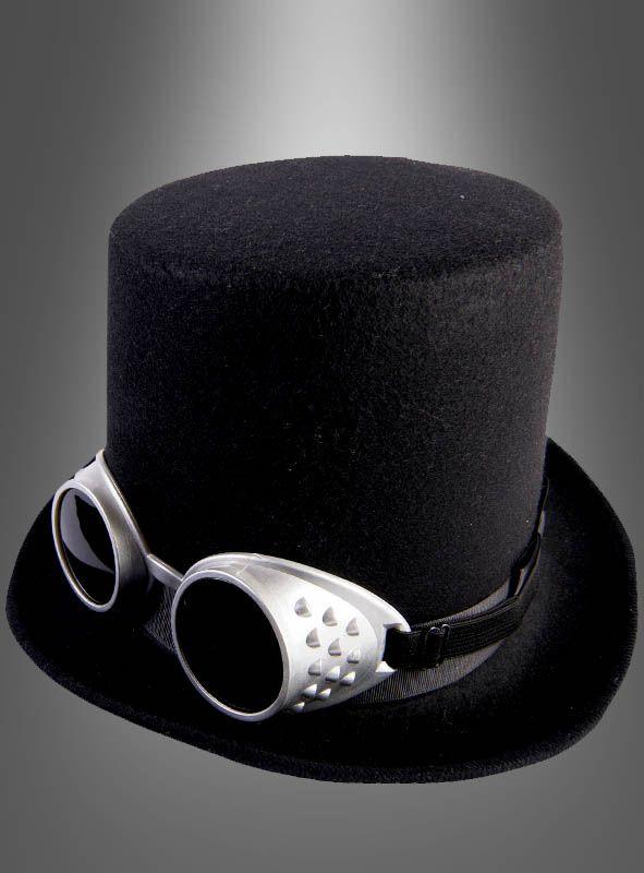 Schwarzer Steampunk Hut mit Brille bei Kostümpalast