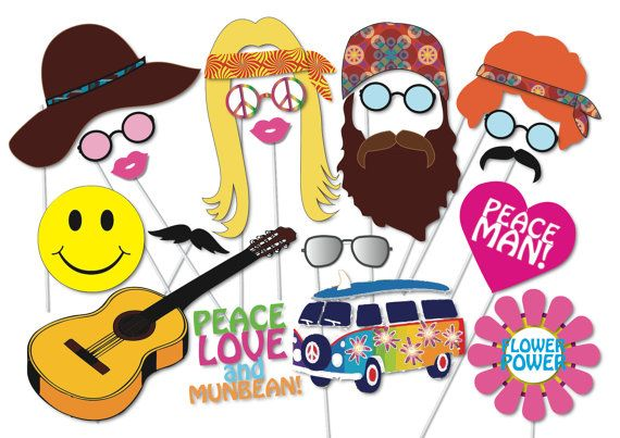 Hippie 60's 70's Party Photo booth Props Set - 20 Piece PRINTABLE - Photo Booth Props