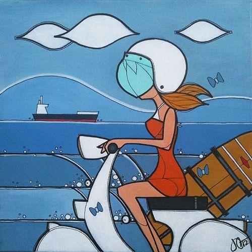 Painting-John Sebastian Culqui: Vespa Surf Girl