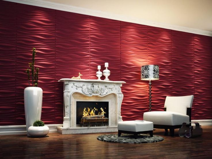 Wallpaper For Lounge Wall Part - 21: Contemporary 3d Wallpaper In Lounge Space With Red Color Paint In Fireplace  Area Cool 3d Wallpaper For Home Interior Wall Interior Design | Pinterest |  Home ...