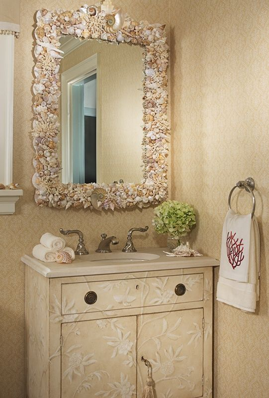 Nice 33 Modern Bathroom Design And Decorating Ideas Incorporating Sea Shell Art  And Crafts.Love This Bathroom Mirror.it Makes This Room So Much More Homey. Nice Design