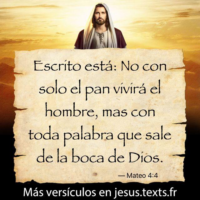 """""""Escrito está: No con solo el pan vivirá el hombre, mas con toda palabra que sale de la boca de Dios."""" — Mateo 4:4 https://txf.ro/m/jf113"""