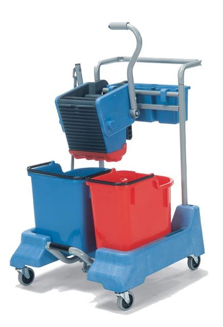 Cart with step on the pedal and side press wringer DM 2416: Mopping trolley with 2 buckets and side press step on the predal wringer