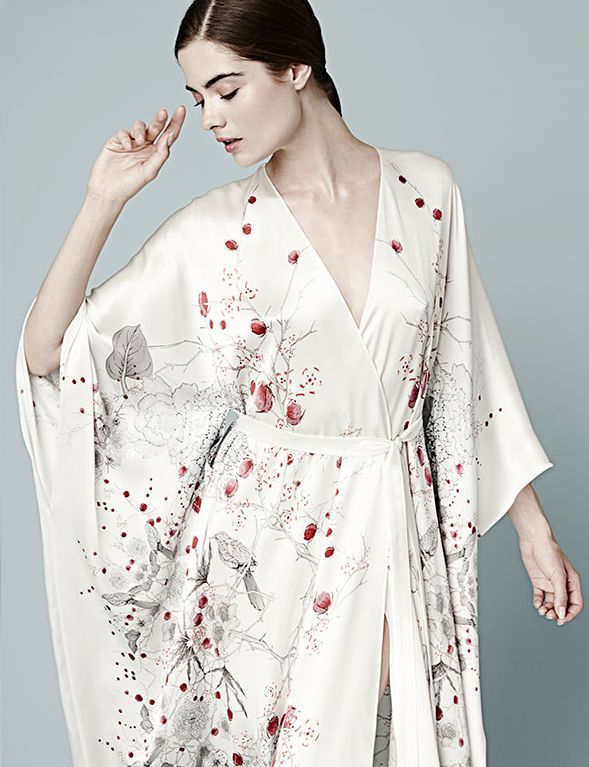 Best Loungewear: Meng Lounging has never been so fabulous in exquisitely printed silk kimono robes!