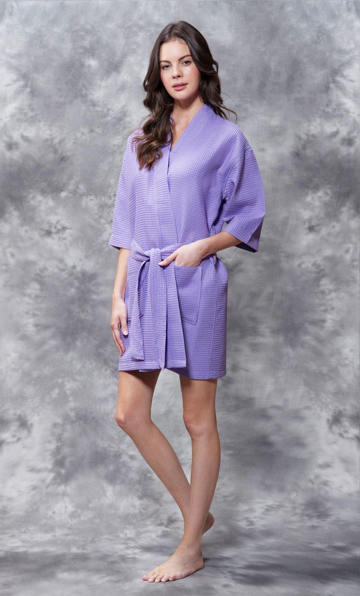 Bridal :: Waffle Kimono Lavender Short Robe Square Pattern - Wholesale bathrobes, Spa robes, Kids robes, Cotton robes, Spa Slippers, Wholesale Towels