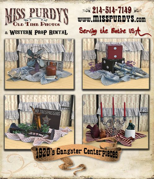 """""""Gangster Centerpieces"""", Great Gatsby 1920's Gangster Centerpieces for rent in Yorba Linda CA from Miss Purdy's Old Time Photos &  Western Prop rental with complete mobile service to the entire USA!   www.misspurdys.com"""