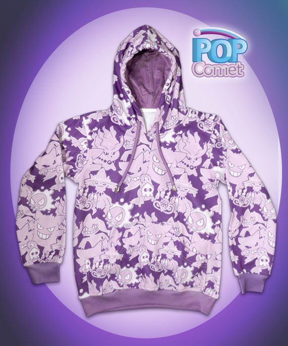 A Ghost Pokemon Hoodie, featuring original art of various ghost type pokemon in a cool various shades of purple spooky design on this cute ghost type pokemon jacket. The pokemons included are: Gengar, Gastly, Haunter, Mismagius, Duskull, Banette, Misdreavus, and Chandelure. This Listing has ***Pull Over Hoodie** & ***Zip Up Jacket*** Options. PLEASE make sure you select the right one, ask for assistance if needed. (******Made to Order takes about 3-4 weeks.********) Womens Size Jacket&#...