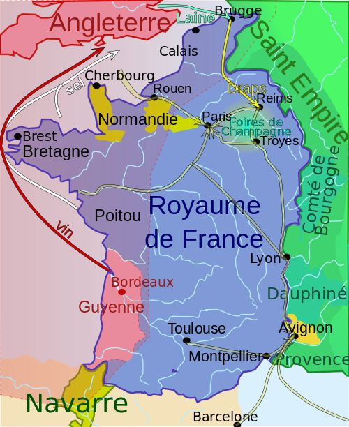 Carte du royaume de France au début de la guerre de Cent Ans vers 1328 - France map c. 1328