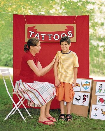 Temporary Tattoo Booth at Carnival themed Party!