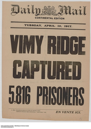 Vimy Ridge Captured Five Thousand Eight Hundred Sixteen Prisoners