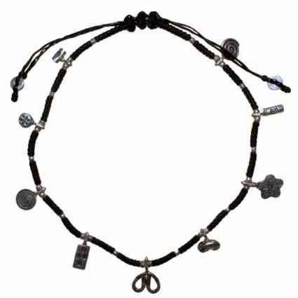 Black Waxed & Silver Ankle Chain D4