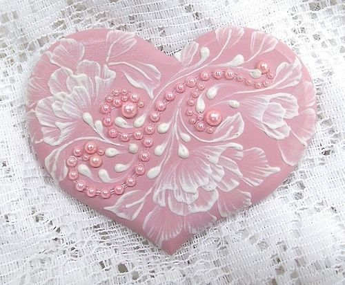 Hand Painted Soft Pink MUD Roses Heart-Shaped Cookie with Lace