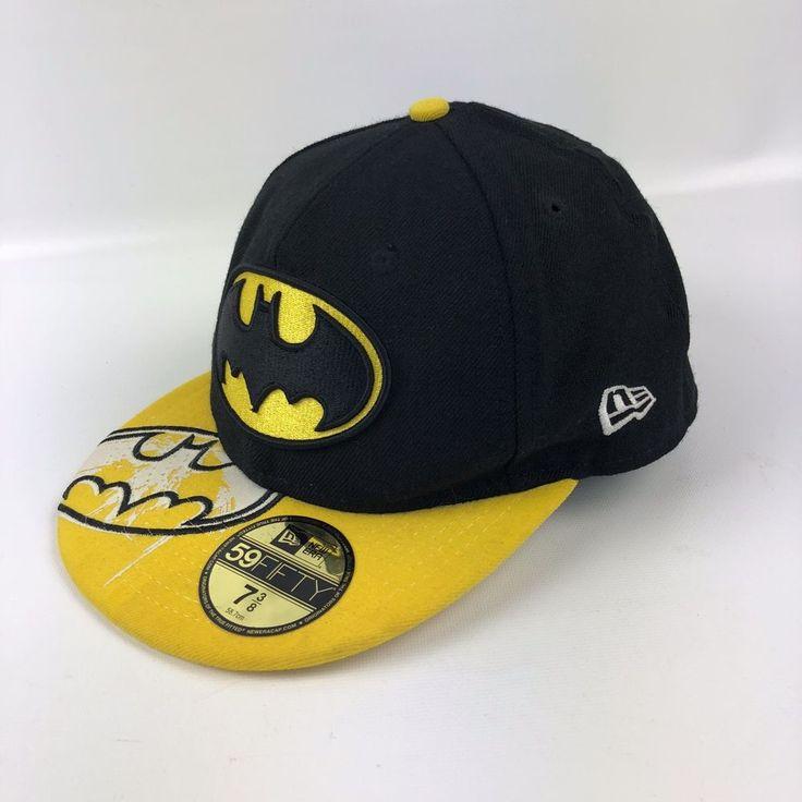 New Era 5950 Batman Fitted Baseball Cap Size 7 3/8 DC Comics Black Yellow Bill #NewEra59Fifty #BaseballCap