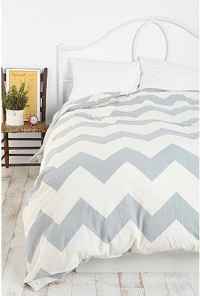 Guest Bedroom: chevron duvet cover @ Urban Outfitters $79. I love Chevron!