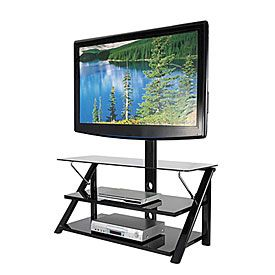 "44"" Swivel Black Glass TV Stand at Big Lots."