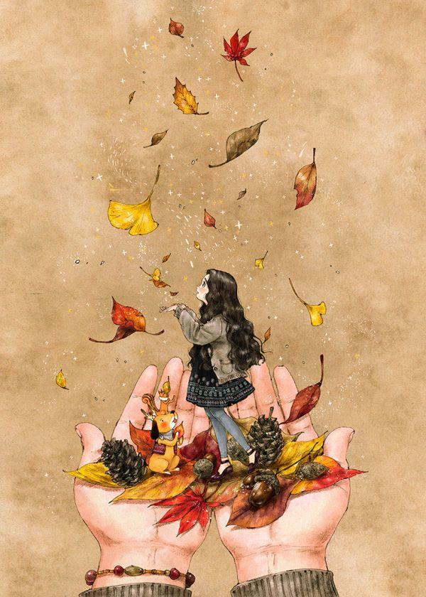 가을길에서 만난 붉은 단풍과 은행잎, 도토리, 솔방울들... 두 손 가득 가을을 담아 마음속에 간직합니다. 떨어지는 낙엽을 손으로 곧장 잡으면 소원이 이뤄진다는 말에 우리는 시간 가는 줄 모르고 낙엽 잡기에 열심이었어요. 계절은 금세 지나가도 지금 이 기분은 나에게 즐거운 추억으로 남을 거예요.