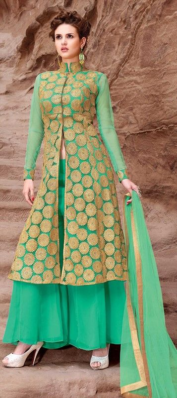 31p 439113 Green  color family Party Wear Salwar Kameez in Faux Georgette fabric with Lace, Machine Embroidery, Zari work .
