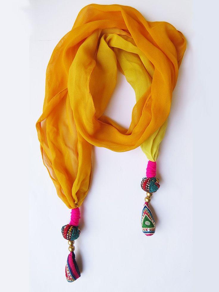 Buy Yellow georgette fashion scarf for ladies handmade with indian kutch work tessel - Buy Designer Handbags online