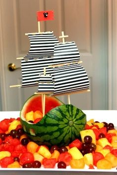 Melon boat! Healthy nautical themed party food.