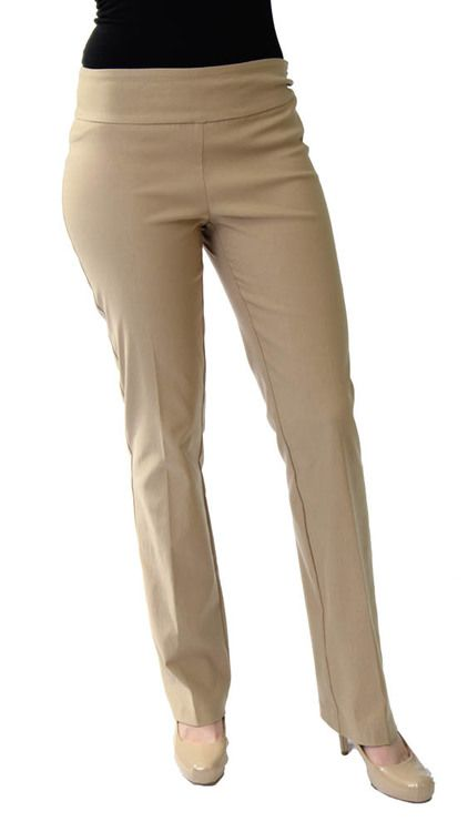 Pull on Pant in Dk Khaki by Tribal - tribal, pull on pant, petite pull