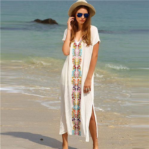SheIn Summer Beach Long Dresses For Women Boho White Embroidery V Neck Short Sleeve Placement Print Split Side Maxi Dress