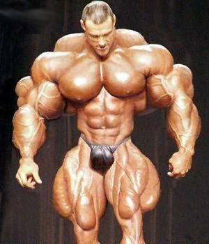Myostatin - freak - Nature Rarities and Human Oddities. Sad thing is he probably thinks he looks good.