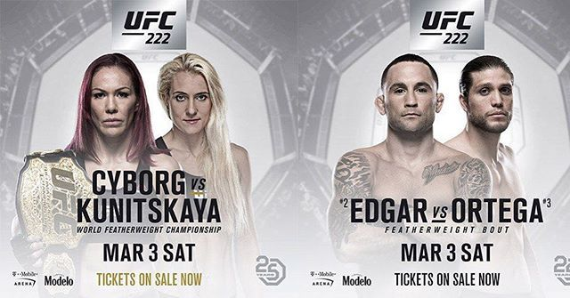 It's #fight day #MMA fans! Check out the #UFC222 main card now    Cris Cyborg @criscyborg  vs.  Yana Kunitskaya @yanamma  Frankie Edgar @Frankieedgar vs.  Brian Ortega @briantcity  Sean O'Malley @sugaseanmma vs.  Andre Soukhamthath @andresoukmma  Stefan Struve @stefan_struve vs.  Andrei Arlovski @andreiarlovski  Cat Zingano @alphacatzingano vs.  Ketlen Vieira @ketlenvieiraufc   Who do you think will win? Let me know in the comment and don't forget to like  and follow for all the latest MMA…