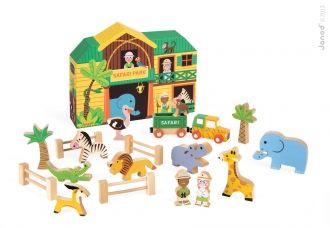 JANOD 08542 Story Set Box dřevěné safari se zvířátky 1