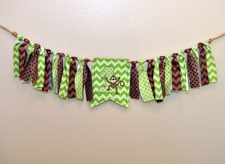 Shabby Rag Flag Fabric High Chair Banner - Jungle Safari Monkey Photo Prop - Green Brown Birthday Party Cake Smash Highchair by FreshForHim on Etsy https://www.etsy.com/listing/465623804/shabby-rag-flag-fabric-high-chair-banner