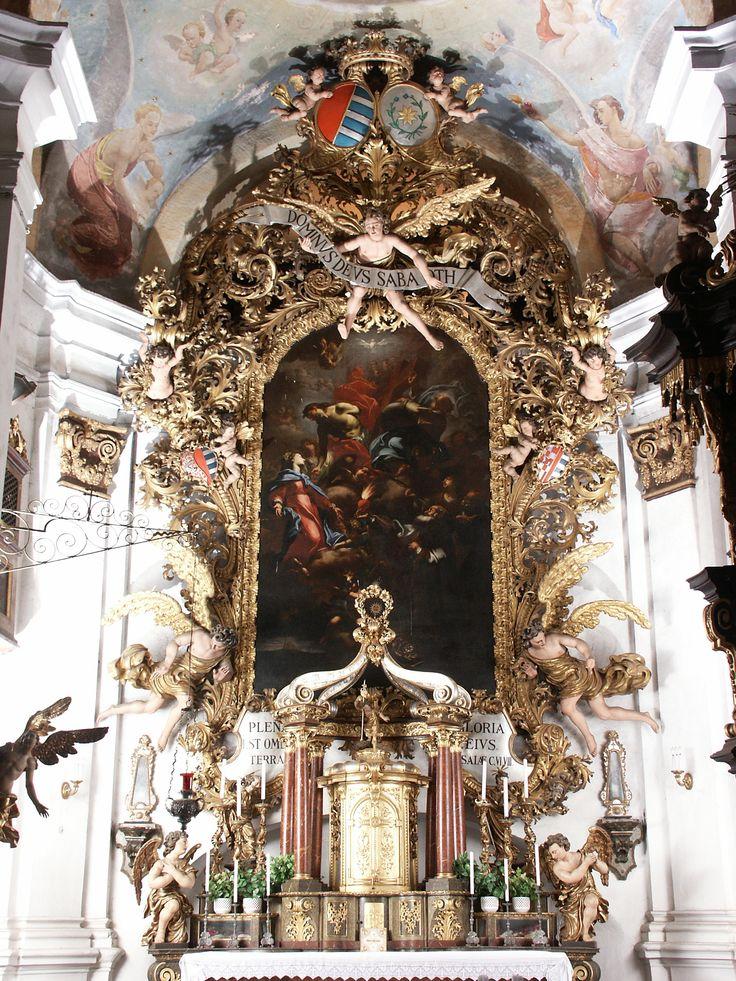 Petr Brandl - Nejsvětější trojice s Pannou Marií a světci (po 1707) Hlavní oltář kostela ve Lnářích