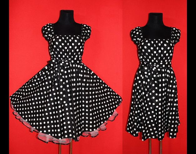 Entdecke lässige und festliche Kleider: 50er ROCKABILLY Petticoat KLEID 48 50 52 Midi eMo made by Marmalade Moon via DaWanda.com
