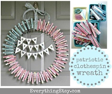 Patriotic Clothespin Wreath Tutorial