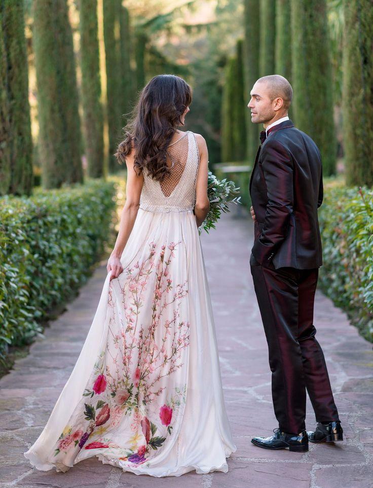 Inmaculada Garcia Dress // floral wedding dress // spanish-inspired elopement in barcelona