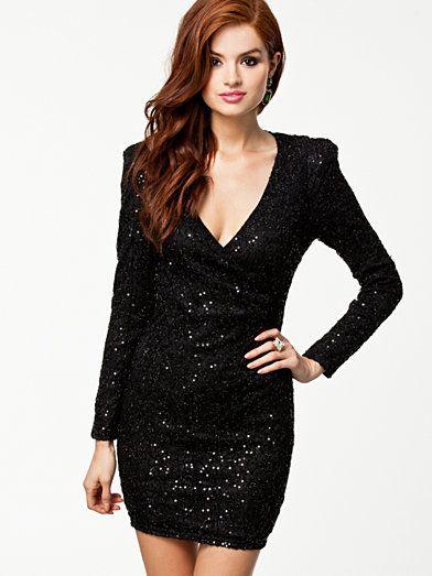 Sequin Wrap Over Dress - Ax Paris - Svart - Festklänningar - Kläder - Kvinna - Nelly.com