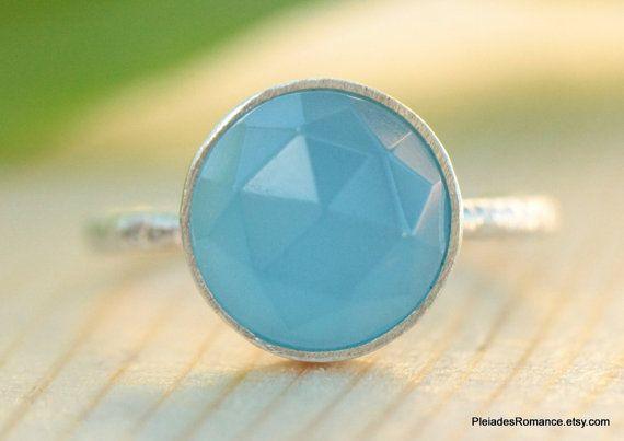 Blue Chalcedony Silver Ring  - Blue Bezel Chalcedony Ring - Bezel Set Ring - Handmade Stackable Ring