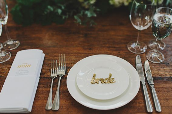laser cut place names and digital gold ink menus by Vignette Design photography by Jon Ong flowers by Clarence venue Stones of the Yarra Valley