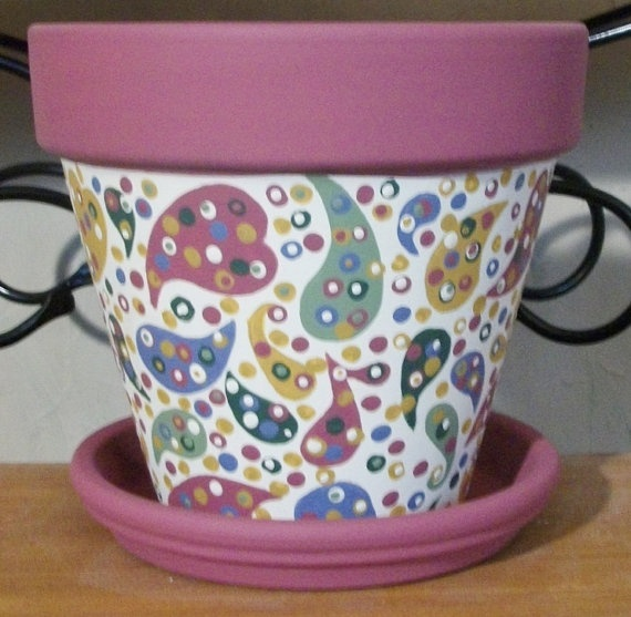 Painted Flower Pot Ideas   Hand Painted Whimsical 6 Terra Cotta Flower Pot With Paisley Design
