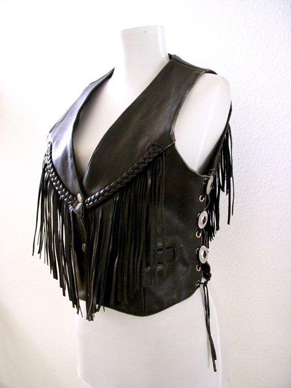 Vintage Black Leather Biker Vest  80s 90s Black by aVintageVagrant https://www.etsy.com/shop/aVintageVagrant?ref=hdr_shop_menu