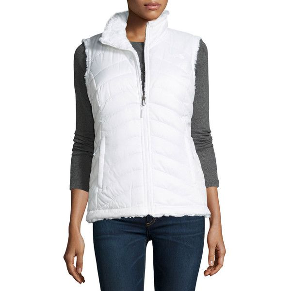 The North Face Mossbud Swirl Fleece & Taffeta Reversible Vest ($49) ❤ liked on Polyvore featuring outerwear, vests, tnf white, white vests, the north face vest, fleece vest, reversible vest and insulated vest