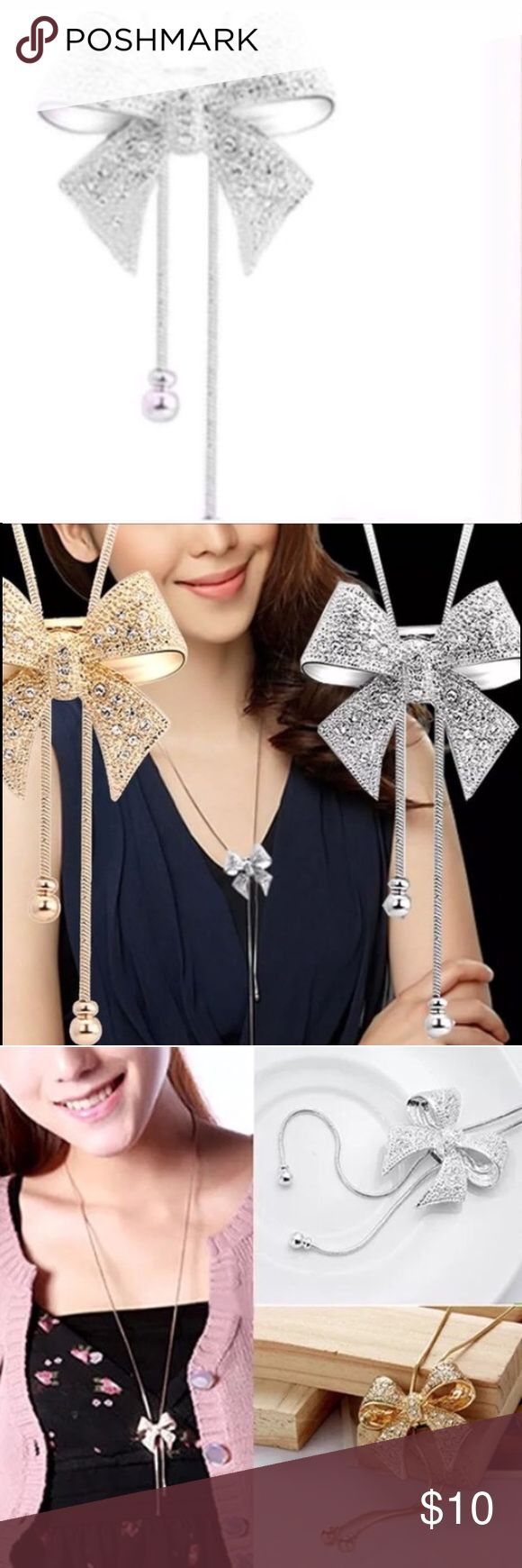 silver bow necklace great for holidays Long sweater necklace Jewelry Necklaces