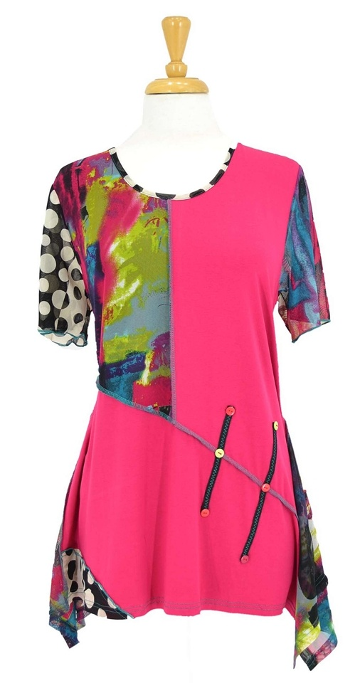 Stylish fuschia black tunic with abstract colourful panels and black  white polka dot sleeve- Uneven hem- Poly viscose stretch fabric- Short sleeves- Not see through- Size 18 , length is 77 cm long