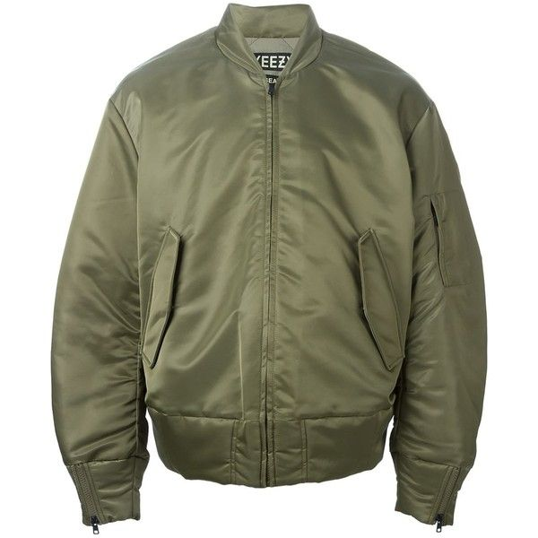 Yeezy Adidas Originals by Kanye West Bomber Jacket (£780) ❤ liked on Polyvore featuring outerwear, jackets, coats & jackets, green, zip front jacket, green jacket, cotton jacket, adidas originals and green bomber jacket