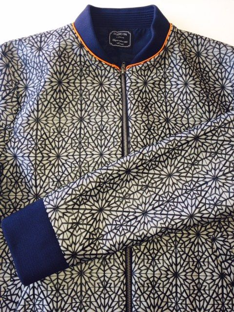 Is this really uniform?! We're over-excited about this bomber jacket at Studio 104, designed for a top secret hotel uniform launching next year! #jacquard #fashion #shoreditch #design #luxuryhotels