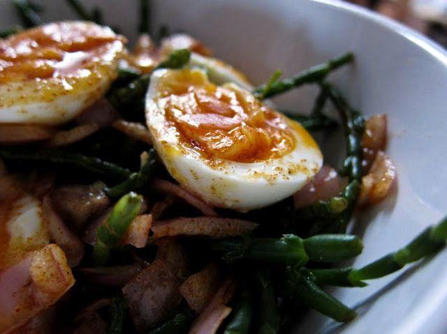 the indolent cook: egg, shallot & samphire salad with smoky lemon dressing