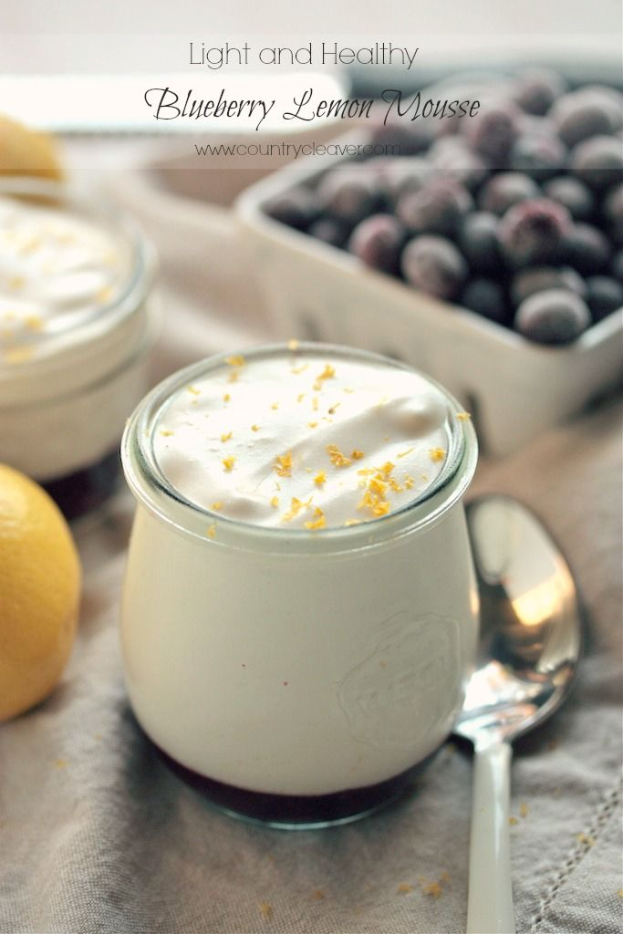 Light and Healthy Blueberry Lemon Mousse - Only 150 calories per serving