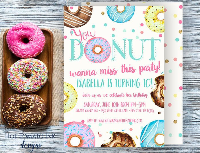 Donut Invitation-Donut wanna miss this party-birthday invitation-watercolor donuts-funny invitation-donut party-donut birthday-printable by Hottomatoink2 on Etsy