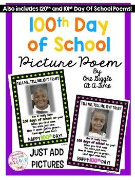 "This adorable 100th Day of School Poem is perfect for displaying those ""100 year old"" aged student photos! You can also use this as a Power Point presentation for when the students walk in on the 100th Day...won't they be surprised! Contains 9 different color frames and one color saving black and white version. ****INCLUDES 120th Day of School Poem set, and 101st Day of School Poem set  for those of you that celebrate 120 days or 101 days instead!"