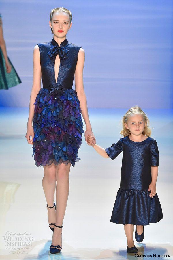 georges hobeika couture fall 2014 2015 look 3 sleeveless deep blue dress keyhole mandarin collar